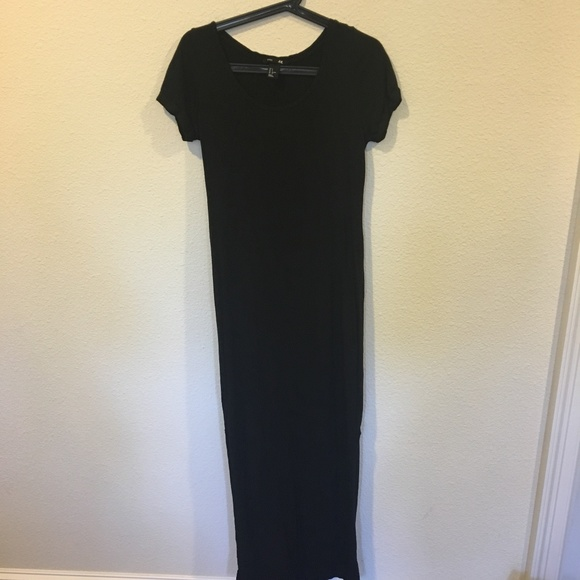 Hm Dresses Hm Black Short Sleeve Black Maxi Dress Poshmark